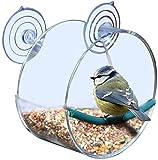 Mangeoires à fenêtre en acrylique transparent avec 2 ventouses super puissantes - Profitez des oiseaux de près lors de l'alimentation de vos oiseaux sauvages.