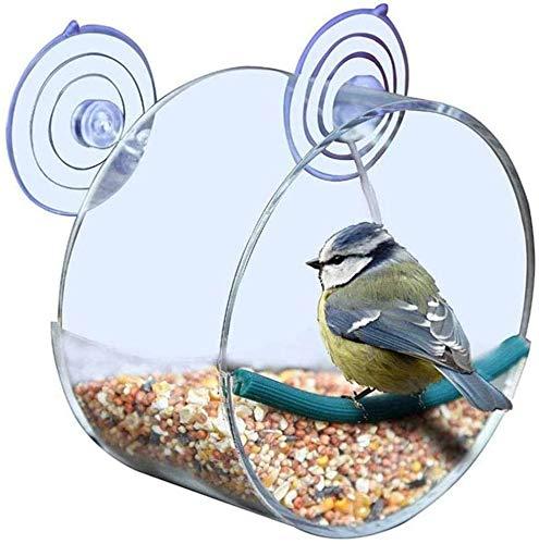 Fenster Vogelfutterhaus Transparentem Acryl Futterhaus mit 2 Superstarken Saugnäpfen Vogelfutterspender Genießen Sie die Vögel beim Füttern aus nächster Nähe Beobachten für Kleineren Wildvögel