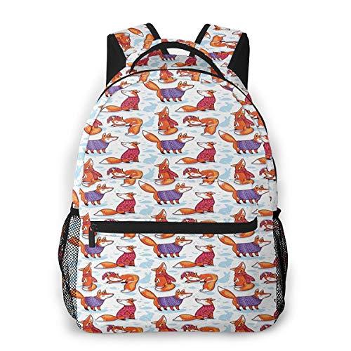 Rucksack Männer Und Damen, Laptop Rucksäcke für 14 Zoll Notebook, Füchse Winterpullover Schal Cartoon Kinderrucksack Schulrucksack Daypack für Herren Frauen