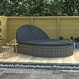 vidaXL Sonnenliege 2-Personen mit Auflagen Gartenliege Doppelliege Relaxliege Liege Strandliege Liegestuhl Gartenmöbel Poly Rattan Grau
