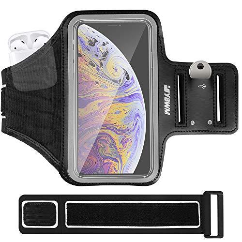 YBWM - Brazalete deportivo para iPhone de hasta 6.2 pulgadas de tamaño completo de pantalla completa, correa ajustable con mayor espacio de almacenamiento para auriculares TWS, senderismo, etc.