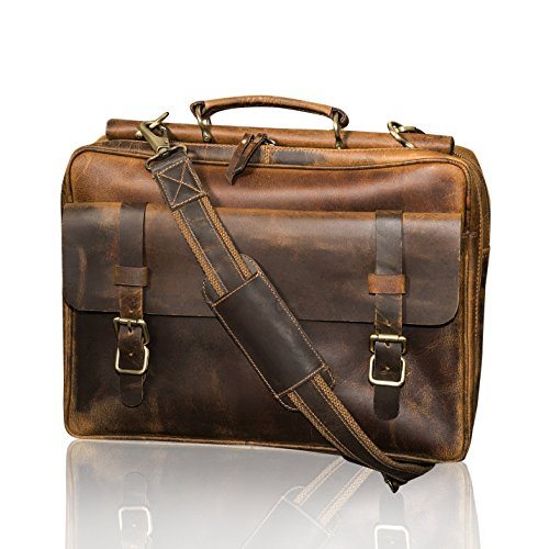 KALATING Mens Real Top Grain Leather Briefcase Messenger Laptop Bag Shoulder Vintage/Up to 15 inch Laptop/Brown