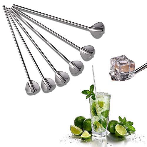 Cannucce a Cucchiaio in acciaio inox, 6 Pezzi Cannuccia Riutilizzabile di Metallo con Cucchiai, 2 in 1 Cannucce Cocktail e Lunghe Cucchiaini per Gelato Caffè Latte Tè (argento)