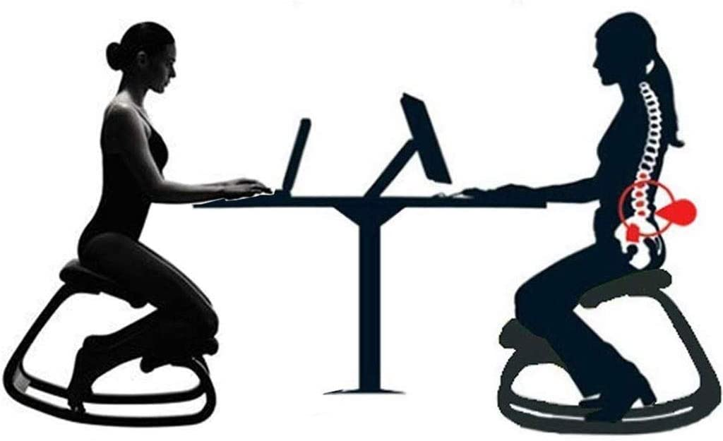 Ergonomique Genoux Chaise en cuir PU naturel Laqué Bois orthopédique Posture Tabouret Neck Pain & Spine Tension de secours Rocking Kneel Siège (Color : Blue) White