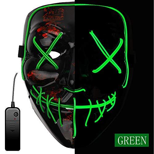 AnseeDirect The Purge Maske Halloween Maske Led Maske mit 3 Blitzmodi für Halloween Karneval Party Kostümspiele Cosplays Feste