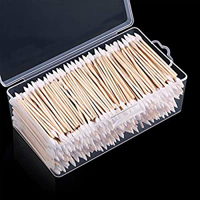 Norme 500 Pieces Cotton Cleaning Swabs, Pointed/Round Tip with Wooden Handle Cleaning Swabs Cotton Buds for Jewelry Ceramics Electronics in Storage Case