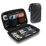デジタル 整理 バッグ、ポータブル多機能二層デジタル収納袋、 防水および落下防止電子ハードディスクパッケージ、 黒