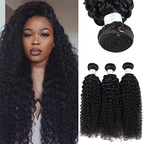 Afro Kinky Curly Human Hair Bundles Curly Weaves Unprocessed Brazilian Virgin Hair Weft Full and Thick Hair Products for Black Women can be Dyed Natural Color 3 Bundles (28 28 28 inch)