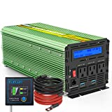 EDECOA 2000 Watt Power Inverter Pure Sine Wave DC 12V to 120V 110V AC Power Converter with LCD Display and Remote Controller