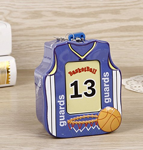 Abenily Münzen-Spardose-Geschenkbox Basketball-Shirt Sparschwein Hochwertige Zinn Aufbewahrungsbox mit Schloss (Blau)