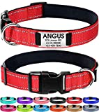 Joytale Personalized Dog Collar with Engraved Slide on ID Tags,Custom Reflective Collars for Small Medium Large Dogs,Red