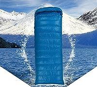 屋外キャンプ用寝袋、四季封筒グースベルベット寝袋-レイクブルー_1200g、綿の裏地付き大人用寝袋