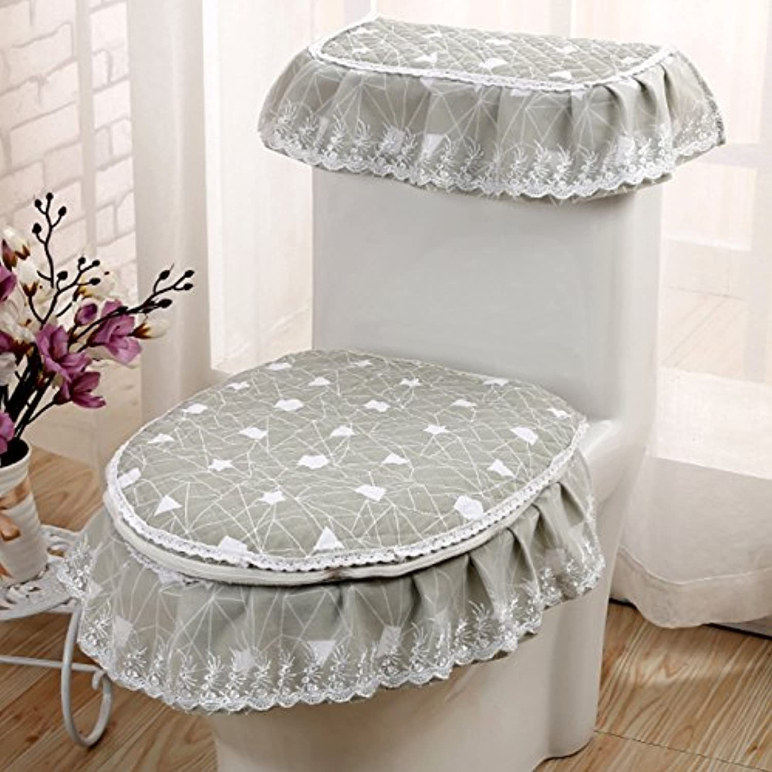 MKSFY Toilet Seat Cover European-Style Lace 3-Piece Household Universal Zipper Ring Winter Waterproof, bluee