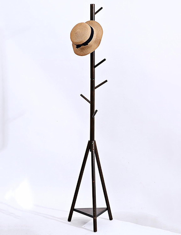 Simple Solid Wood Coat & Hat Stand Floor-Standing Living Room Bedroom Clothes Scarves Hats Hangers(color Optional, 37  175cm) (color   Walnut color)