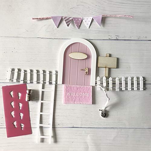 WEJUANR Zahnfee Door Kit Hand Made Netter Rosa Mäuseloch, Miniatur-Holztür Elf Tür Mit Bunting Und Personalisierte Zeichen-Pfosten (Color : Mini Pink Set)