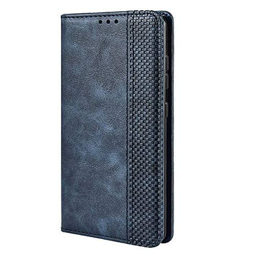 TANYO Leder Folio Hülle für Motorola Moto Edge, Premium Flip Wallet Tasche mit Kartensteckplätzen, PU/TPU Lederhülle Handyhülle Schutzhülle - Blau