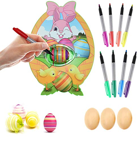Easter Egg Decorations Kit, Easter Egg Spinner, Cute Bunny Egg Spinner Machine with 8 Colorful Quick Drying Markers, Easter DIY Coloring Egg Painting Set