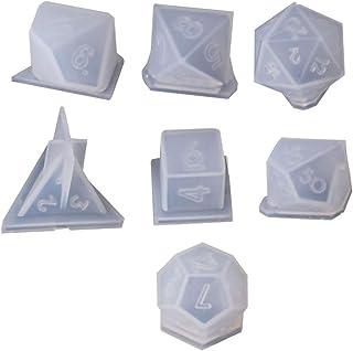 Yinuneronsty 7 Formes Dés Coin Rond Triangle Carré Triangle Moule en Silicone Numéro Jeu Jouet