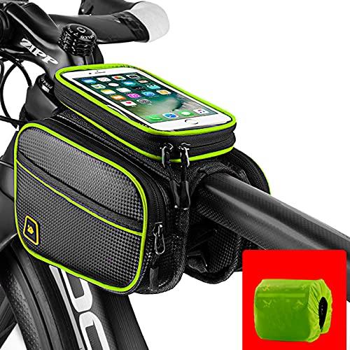 Bolsa Bicicleta viga Delantera para Bicicleta de liberación rápida de montaña Pantalla táctil Impermeable para teléfono móvil Bolsa de Tubo Equipo para Montar,Green