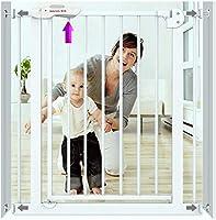 ベビーゲート フェンス ドア付き 階段や廊下の壁には、マウントされたベビーゲート2イン1エキストラワイドエクストラトール階段子供の安全ドアガードレール犬のフェンス絶縁ゲートフェンスポストパンチフリーペットフェンス(Hの78センチメートル) (Color : White, Size : 95-104cm)
