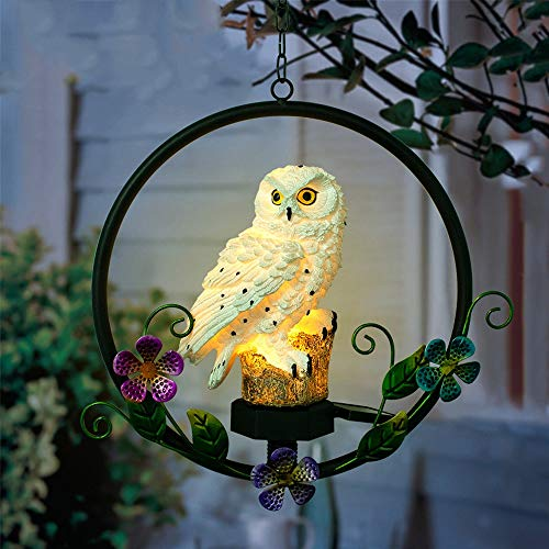 Owl Garden Lights Solar Powered Waterproof LED Garden Solar Night Lights, Outdoor Patio Decoration Owl Lawn Light Lamp Resin Animals Hanging Solar Lights Lantern for Courtyard Patio Pathway Yard