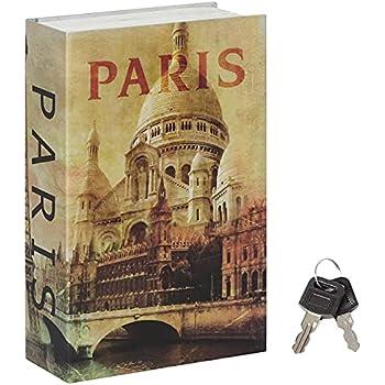 Stash Safe Jssmst Diversion Book Safe with Key Lock, Secret Hidden Book with Safe Inside, Metal Lock Box Fake Book Money Safe High Capacity, 9.5 x 6.2 x 2.2 inches, SM-BS019PN