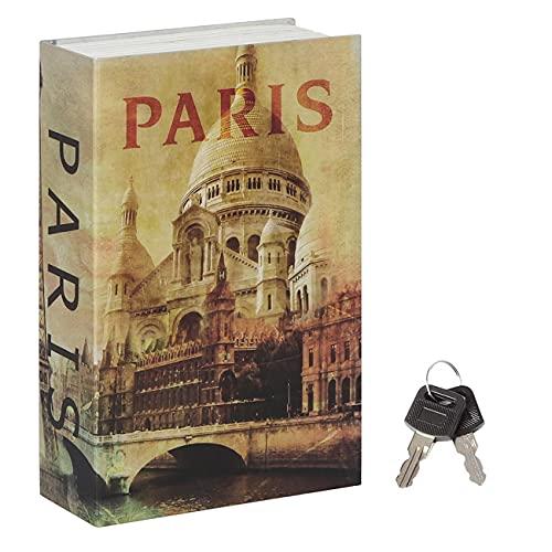 Jssmst Diversion Book Safe with Key Lock, Secret Hidden Book with Safe Inside, Metal Lock Box Fake Book Money Safe High Capacity, 9.5 x 6.2 x 2.2 inches, SM-BS019PN
