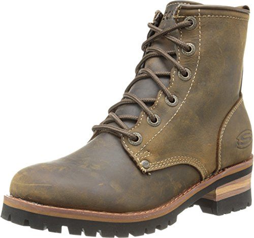 Skechers Women's Laramie 2 Engineer Boot,Dark Brown,7.5 B - Medium
