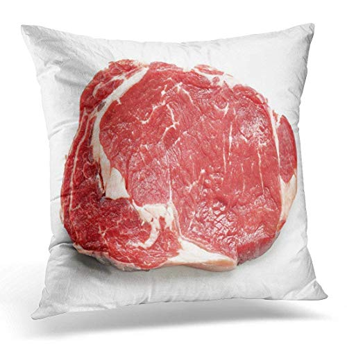 Roman Lin Carne roja Filete de Res cruda Fresca Vista Superior Blanca Entrecote Vaca Funda de Almohada Decorativa Decoración para el hogar Cuadrado 45x45cm Funda de Almohada