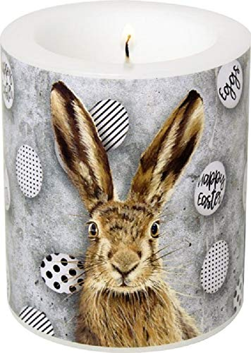 Miss Lovely Stumpen-Kerze Windlicht niedlicher Oster-Hase schwarz & weiß Oster-Fest Moderne Oster-Deko Ostern Tisch-Dekoration Kerze Frühlings-Dekoration Frühling
