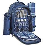 VonShef 2 Person Navy Tartan Picnic Backpack Hamper with Cooler Compartment – Includes