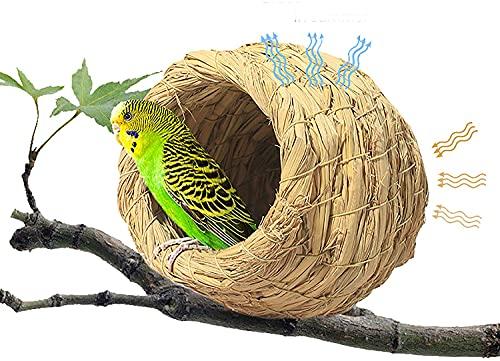 Straw Bird Nest Eco-Friendly Straw Birdhouse,Grass Handwoven Bird Nest,Hummingbird House,100% Natural Fiber Bird Nest Hut Cozy Resting Breeding Place for Parrots,Natural Bird Hut Outdoor.