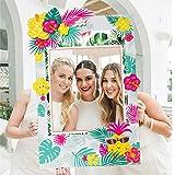 Sayala Hawaii Photo Booth Frame Selfie Marco de fotos con 7 pcs Luau Photo Booth Atrezzo DIY Kit Hawaiian Tropical Tiki Cumpleaños Baby Shower Ducha nupcial Decoraciones de boda