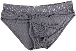 AOQIANG Mens Underwear Breathabl Hole Long Separate Pouch Boxer Breifs Undies