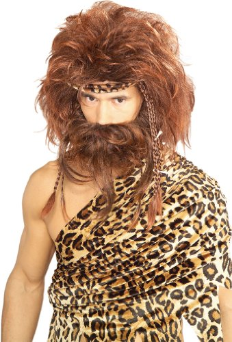 Rubie's Bushy Caveman Short Beard and Wig Set, Brown, One Size