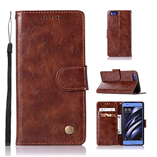JARNING Compatible con Xiaomi Mi6 Fundas de PU Cuero Flip Leather Case Cover Carcasa Funda con Ranura de Tarjeta Cierre Magnético -marrón
