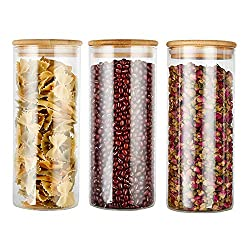 COPDREL Glass Food Storage Jars Containers with Airtight Bamboo Lids Set of 3 Kitchen Glass Canisters For Coffee, Flour, Sugar, Candy, Cookie, Spice and More,32.5 OZ (950 ML)
