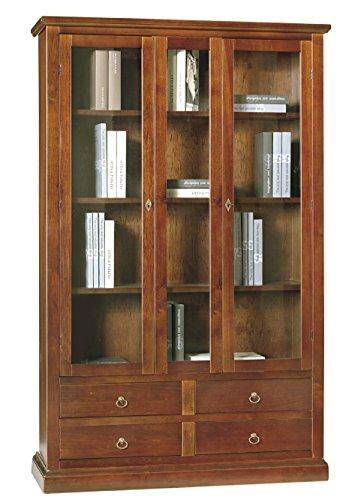 Lo Scrigno Arredamenti, Libreria/Vetrina Arte povera 2 Porte 4 cassetti Tinta Noce W389/N
