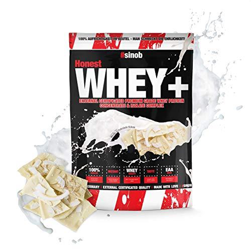 sinob Honest Whey Protein - Weiße Schokolade Kokos - 1 x 1000 g. 12,5% Isolate Anteil. Instant lösliches Eiweißpulver mit BCAA & EAA 'Hergestellt in Deutschland'