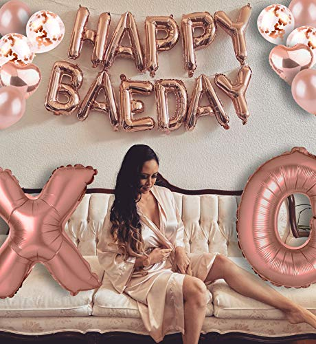 Happy BAEDAY Rose Gold Balloon Kit   Happy Valentines Day   Happy Anniversary Balloons   Galentines Day   Happy Birthday   Birthday Party Decorations For Selfies & Group Photos   40' XO Letter Balloons   Foil & Confetti Balloons