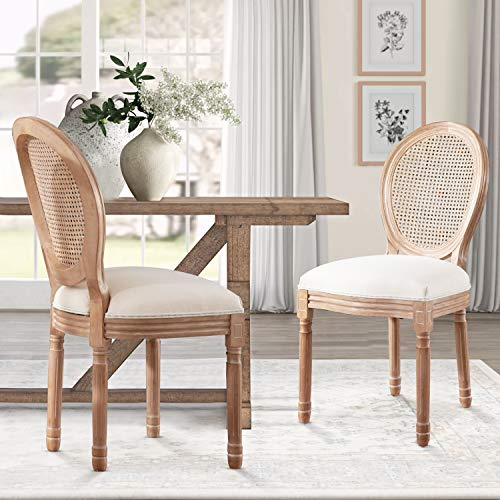 Recaceik Farmhouse Dining Chairs 2 PCs, French Bedroom Side Chairs with Rattan Round Back, Wood Legs Finish, Elegant Accent Kitchen Chairs for Dining Room/Living Room/Restaurant,Set of 2, Beige