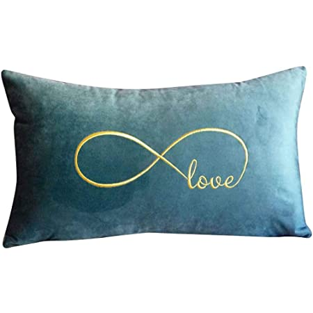 Favdec Embroidered Infinity Love Decorative Throw Pillow Cover Lumbar Love Pillow Cover 12 Inches X 20 Inches Cover Only Home Kitchen