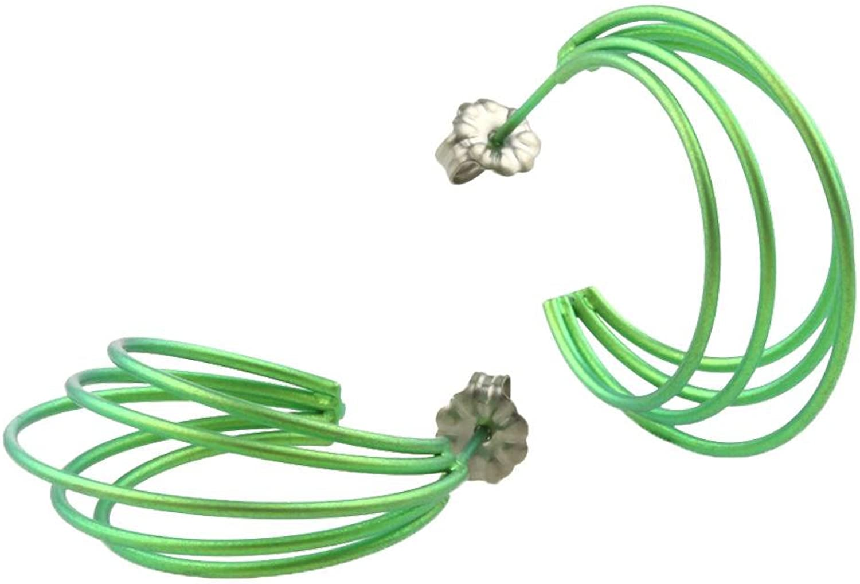 Ti2 Titanium Womens Large Wire Hoop Earrings  Fresh Green