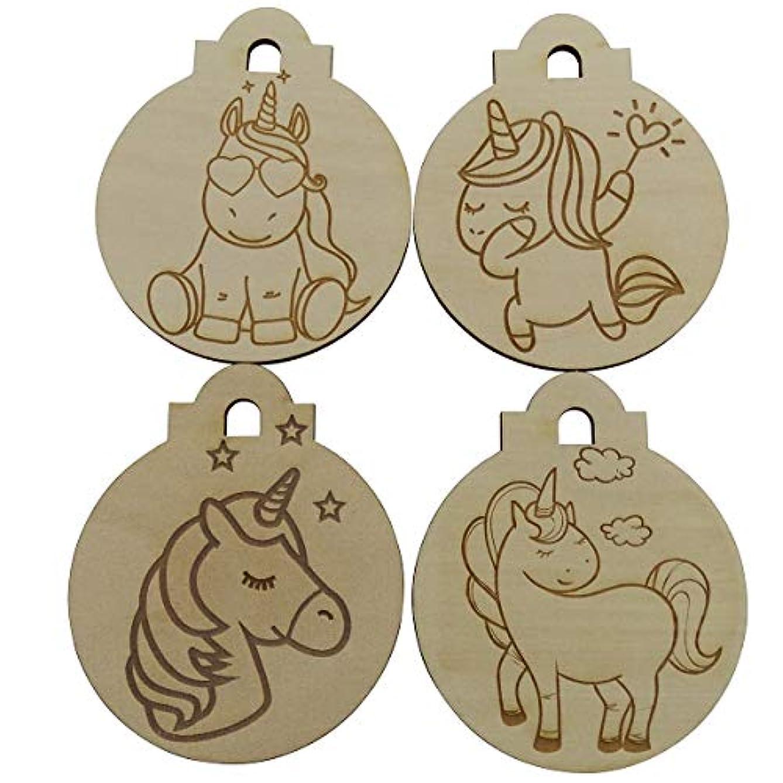 Set of 4 Wood Unicorn Design Ornaments for Painting or Coloring Laser Engraved DIY Kids Art Craft 3