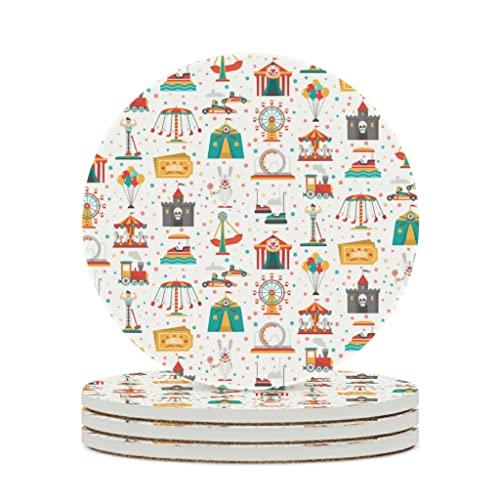 Facbalaign Posavasos de cerámica con base de corcho resistente a los arañazos, redondo, inodoro, 4 unidades, color blanco