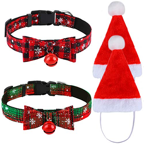 Elcoho 2 Pack Christmas Snowflake Dog Collars Adjutable Dog Collars with Bow Tie and Bells Classic Plaid Collar and 2 Pack Pet Christmas Hat Pet Costume Accessories Decoration for Cats Dogs Pets