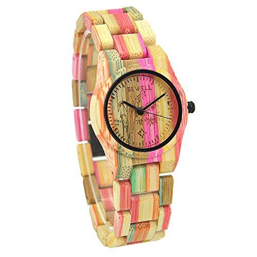 Bewell Reloj de madera de las mujeres hechas a mano Reloj analógico de cuarzo de peso ligero de bambú 105DL (mezcla de color 2)