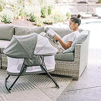 Baby Delight Go With Me Slumber Deluxe Portable Rocking Bassinet Charcoal Tweed Fashion
