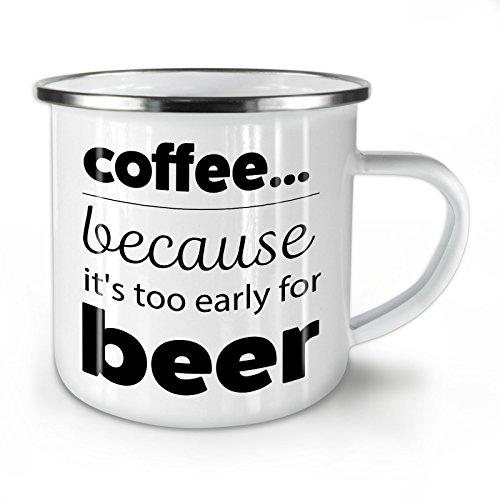 Wellcoda Kaffee Über Bier Emaille-Becher, Lustig - 10 Unzen-Tasse - Kräftiger, griffiger Griff, Zweiseitiger Druck, Ideal für Camping und Outdoor