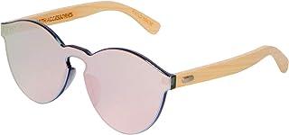 Bamboo Wooden Sunglasses for Women, Flat Retro Rimless Wood Sunglasses
